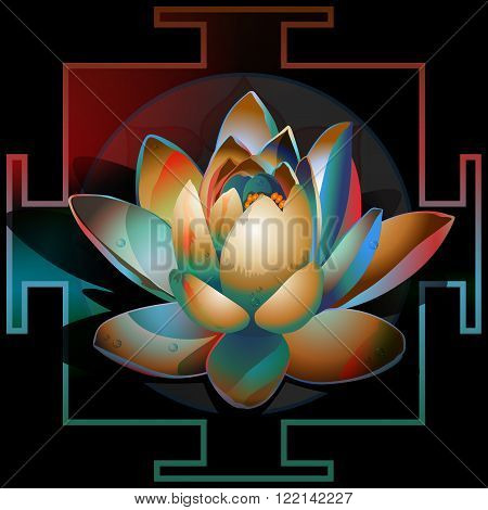 abstract blooming lotus circuit yantra on a black background