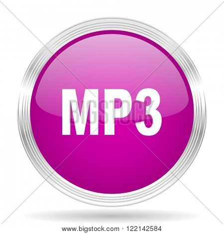mp3 pink modern web design glossy circle icon