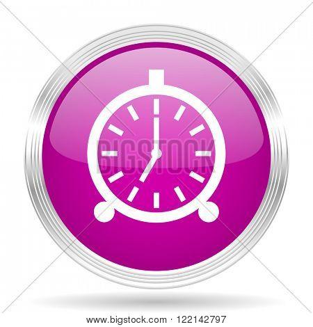 alarm pink modern web design glossy circle icon