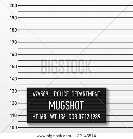 Police mugshot. Add a photo. Centimeters, vector.