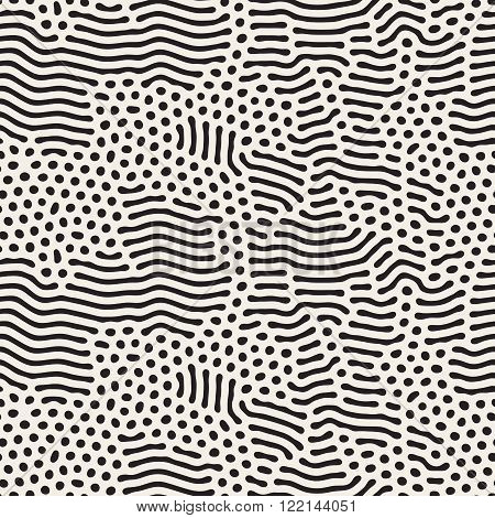 Vector Seamless Black and White Organic Rounded Jumble Lines Maze Pattern Abstract Background