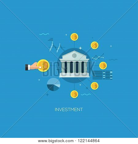 Flat designed concept illustration template for investment. Design elements for web and mobile applications, infographics and workflow layout