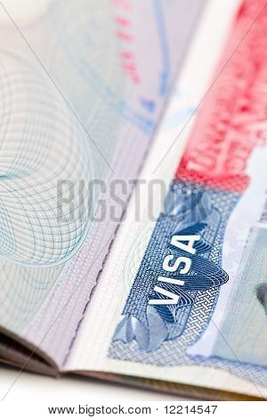 Macro Shot Of A U.s. Visa On Passport Page