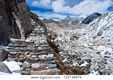 The trail in the Himalaya in Sagarmatha National Park, Nepal