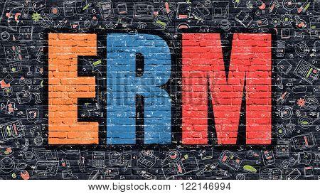 ERM - Enterprise Risk Management - Concept. ERM Drawn on Dark Wall. ERM in Multicolor Doodle Design. ERM Concept. Modern Illustration in Doodle Design Style of ERM. ERM Business Concept.