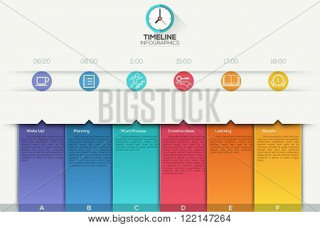 Business timeline infographic template with paper ribbons. Vector illustration. can be used for workflow layout, banner, diagram, number options, web design.
