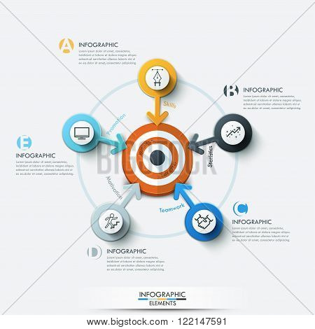 Business target marketing concept. Target with arrows and line icons for 5 options. Can be used for workflow layout, banner, diagram, web design, infographic template.