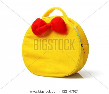 Child Yellow Hand Bag with Red Ribbon on White Background