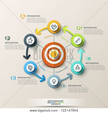 Business target marketing concept. Target with arrows and line icons for 6 steps. Can be used for workflow layout, banner, diagram, web design, infographic template.