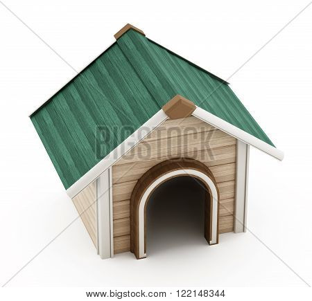 Doghouse with green roof isolated on white background