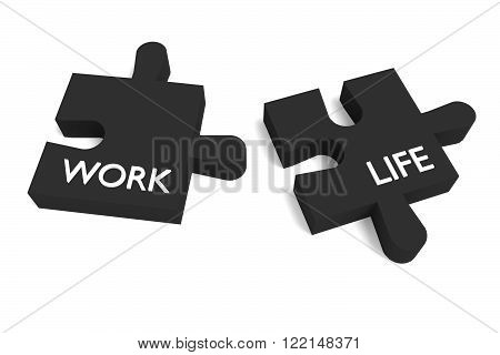 Black Puzzle, work and life, jigsaw on a white background