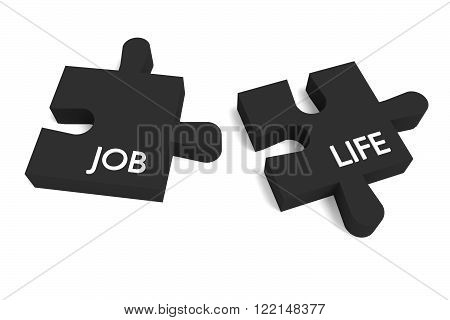 Black Puzzle, job and life, jigsaw on a white background