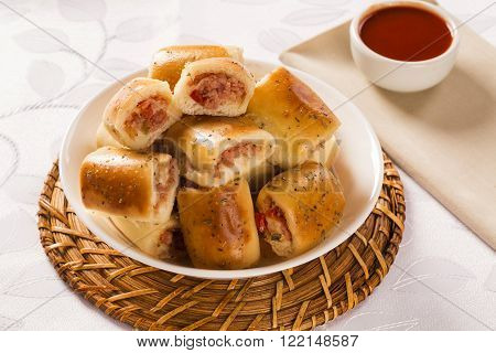 Brazilian Snack. Cheese And Ham Snacks Portion.