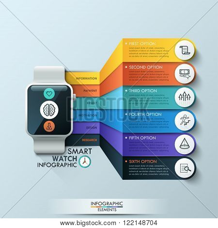 Smart Watch Infographic Design Template. Can be used for workflow layout, diagram, number options, step up options, web design, banner template, infographic.