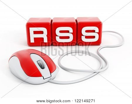 Red cubes with RSS letters connected to computer mouse isolated on white background