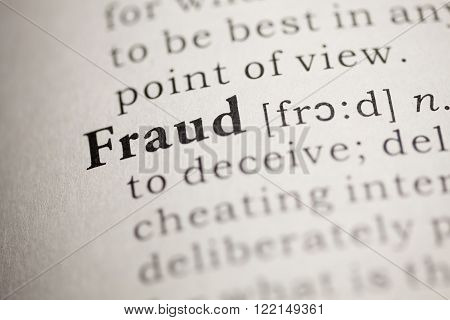 Fake dictionary, definition of the word Fraud