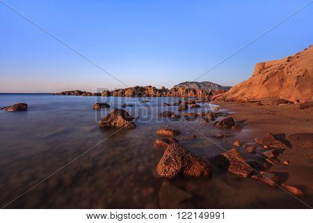sunrise on the beach near Kefalos town. Kos island Greece