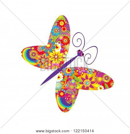 Flowers print with funny colorful butterfly