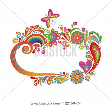 Summery colorful floral frame with rainbow