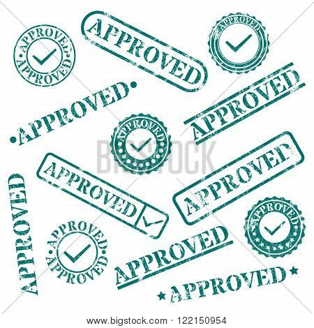 Set of round and rectangular stamps approved isolated on white background vector illustration.