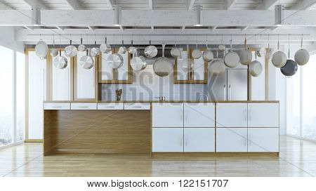 Modern kitchen island in kitchen with many pans and pots (3D Rendering)