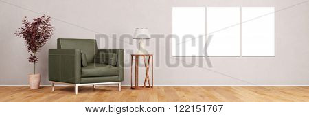 Empty canvas triptych on wall in living room next to armchair (3D Rendering)