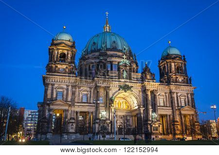 Evening view of Berlin Cathedral (Berliner Dom) Berlin Germany