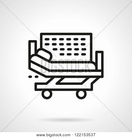Hospital bed black line vector icon