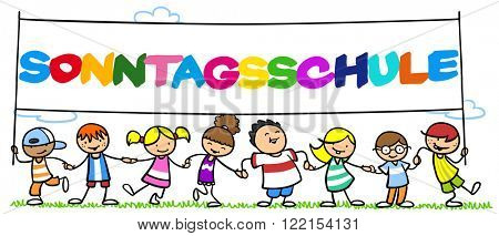Happy group of children in sunday school holding German sign