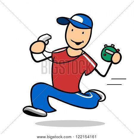 Fast cartoon fitness trainer running or jogging