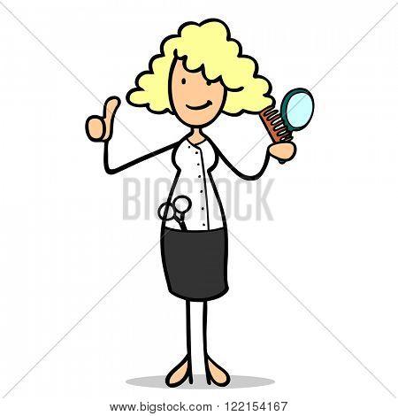 Smiling female cartoon hairdresser holding up her thumb