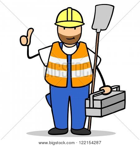Happy cartoon construction worker holding his thumbs up