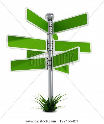 Road post with blank plates isolated on white background