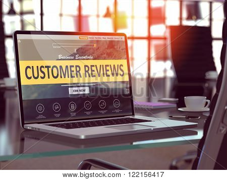 Customer Reviews Concept. Closeup Landing Page on Laptop Screen  on background of Comfortable Working Place in Modern Office. Blurred, Toned Image. 3D Render.