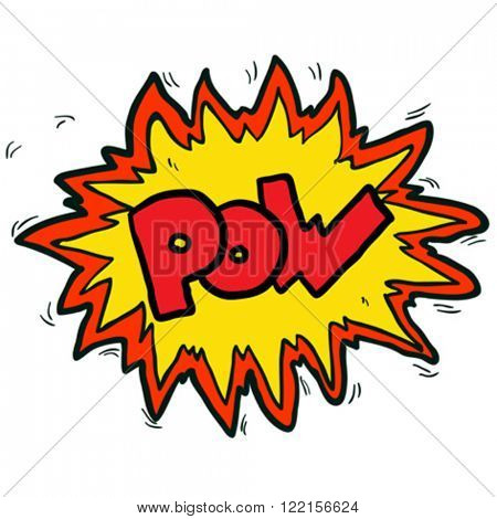 cartoon illustration of comic book pow symbol