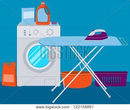 Interior laundry. Washing machine and laundry detergent. Vector illustration