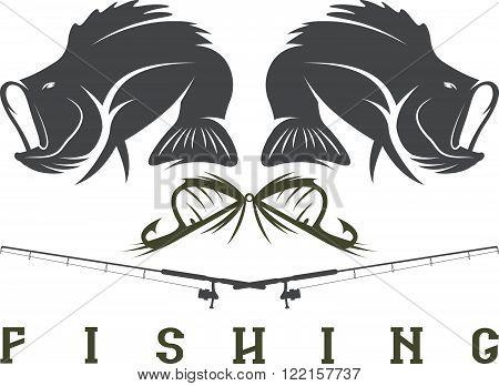Vector Design Template Of Vintage Fishing Emblem
