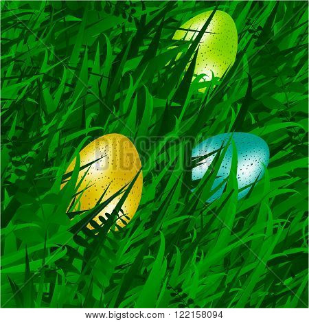 Realistic Eggs Over Spring Green Grass Background