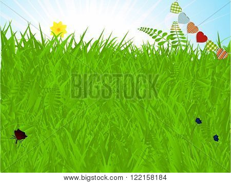 Warm Spring Background with Grass Flowers Butterfly and Heart Shaped Bunting