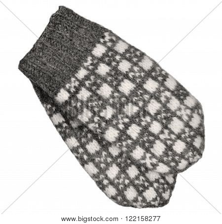 Gray mitten pair, isolated grey white textured woolen mittens