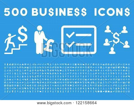 500 American and British business vector icons. Style is white flat icons on a blue background.