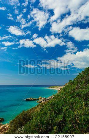 Beautiful view of Ionian sea with rocky beach. high angle