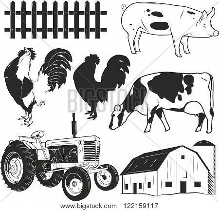 Agricultural objects vector set isolated on white background. Farming labels, design elements, icons. Tractor, farm animals, cow, pig, farmhouse.