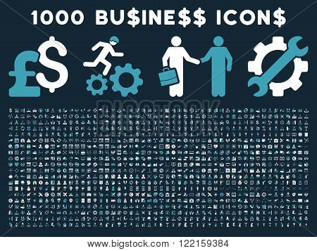 1000 Business vector icons. Pictogram style is bicolor blue and white flat icons on a dark blue background. Pound and dollar currency icons are used