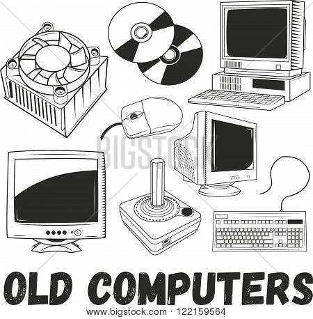 Vector set of electronic products and old computers objects in vintage style. Technology concept illustration. Design elements, icons, logo, emblems and badges isolated on white background.