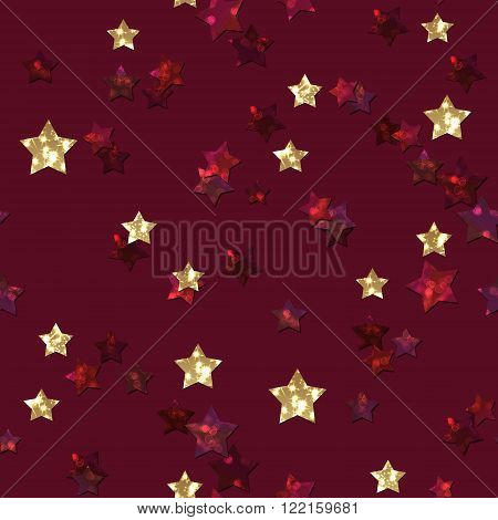 Pattern with glitter textured red and gold stars confetti print on red background.