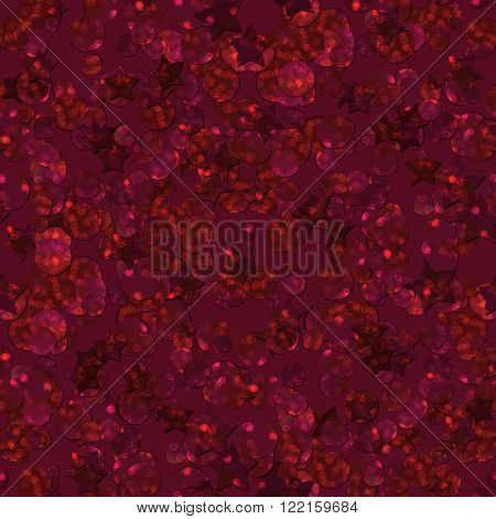 Pattern with glitter textured red circles and stars confetti print on red background.