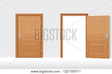 Doors - Two wooden doors, one is closed, the second is open. Vector illustration.