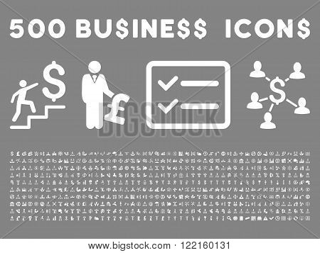 500 American and British business vector icons. Style is white flat icons on a gray background.