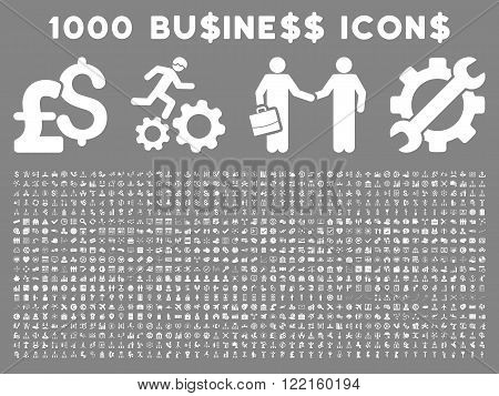 1000 Business vector icons. Pictogram style is white flat icons on a gray background. Pound and dollar currency icons are used